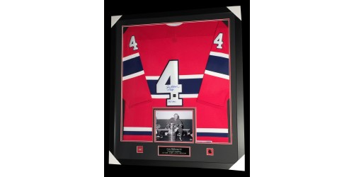 Jean Beliveau Official CCM license signed jersey in frame (SFC10279)