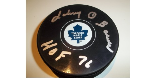 Johnny Bower signed puck (SFC10270)