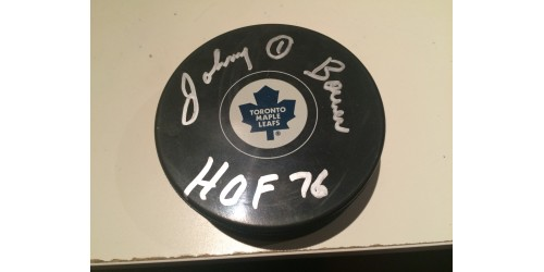 Johnny Bower signed puck (SFC10294)